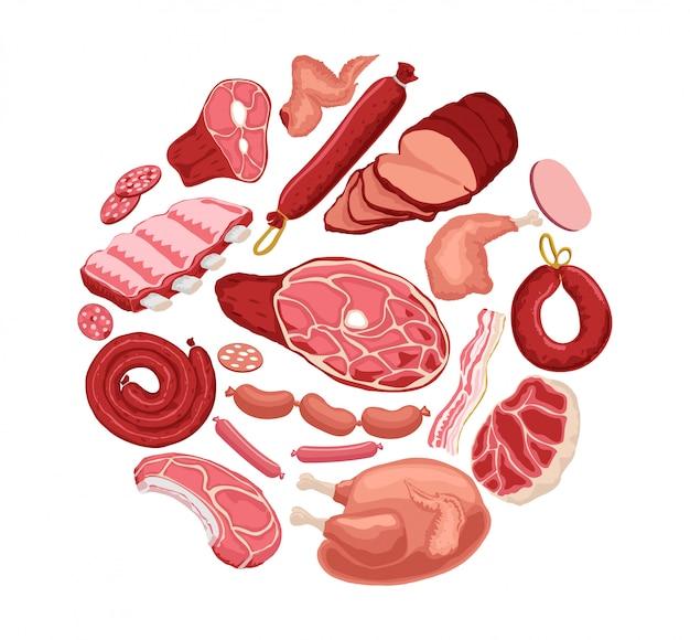 Круглый мясной баннер. свежее мясо баннер. курица, мясо, сосиски на белом фоне.
