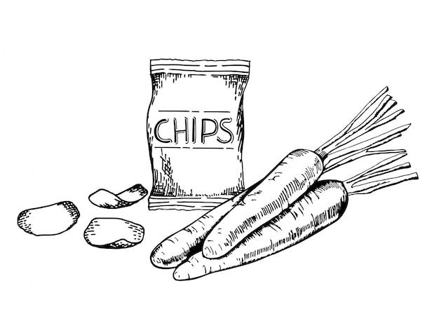 手描きのスケッチスタイルニンジンチップセット。野菜、にんじんチップ、スライス。有機食品、白い背景の上の落書きイラストコレクション。