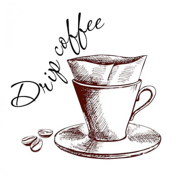 コーヒーメーカーに注ぐ手描きコーヒーポスター
