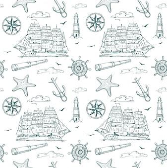 航海要素のシームレスなパターン。海の背景。