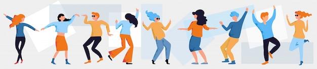 踊る人のイラスト。面白いダンスの男と女の漫画のアイコンを設定します。