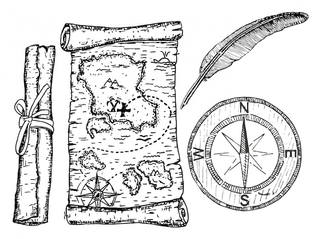 Карта сокровищ, компас и перо. иллюстрация пиратской карты концепции.
