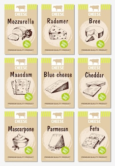 チーズポスターをセットします。チーズ付きフードメニューデザイン。