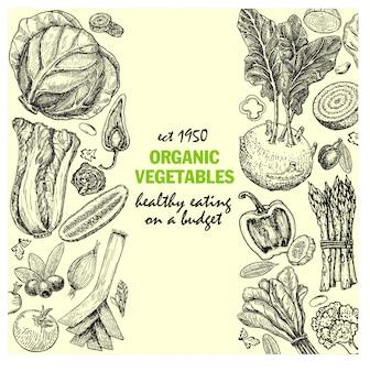 インクでカードは手描き下ろし野菜とスパイスのスケッチです。ビンテージの健康食品のイラスト。オーガニック野菜