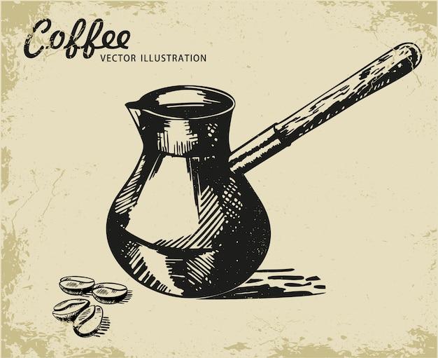Эскиз кофе турок вектор