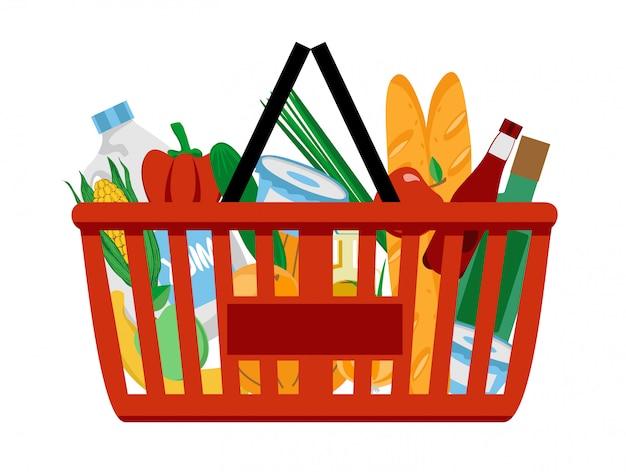 食料品がいっぱい入った赤いプラスチックの買い物かご。スーパーで買い物。