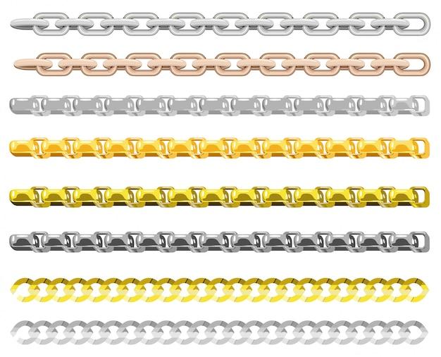 異なる金属の鎖。金と銀の鎖要素、ネックレスと白い背景の上の鎖の金色のジュエリー無限オブジェクト。チェーンボーダー。