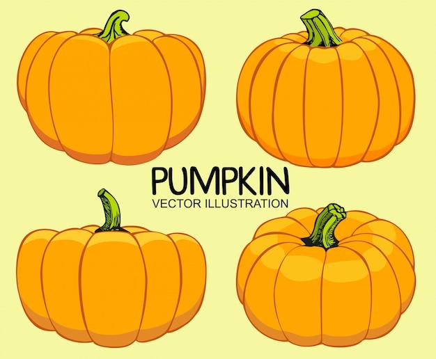 オレンジ色の秋のカボチャのイラストのセットです。