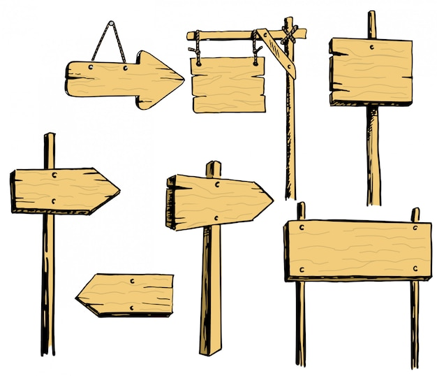 Векторный набор деревянных знаков