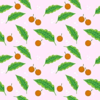 オレンジ色の果物と緑と葉のパターン。