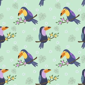 枝パターンのオオハシ鳥。