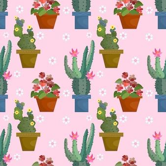 Симпатичные кактус в горшке на розовый цвет бесшовный фон.