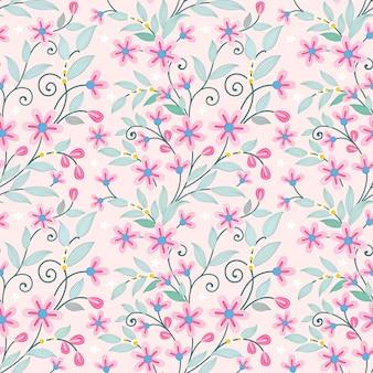 小さなピンクの花のシームレスなパターンの生地の織物の壁紙。