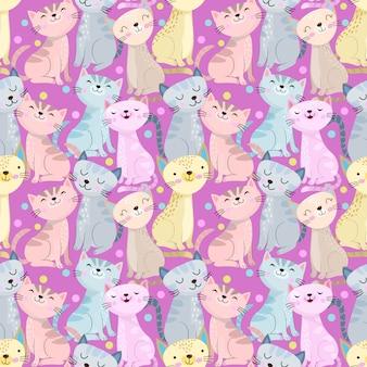 紫色の背景にカラフルなかわいい猫シームレスパターン。