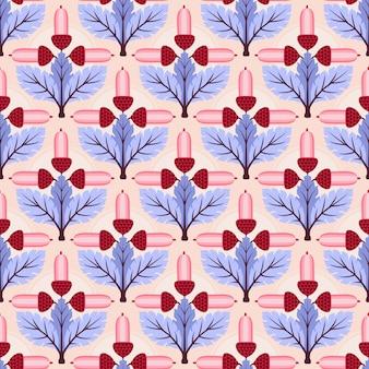 抽象的な花と葉のシームレスなパターン背景。