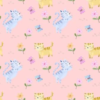 蝶のシームレスなパターンを持つ花の庭でかわいい漫画猫。