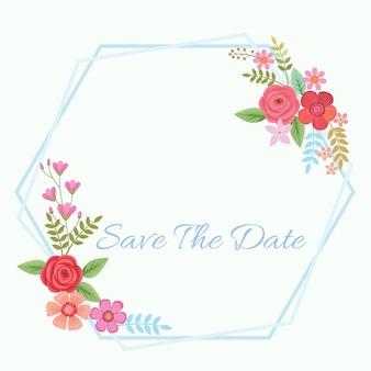 フレーム付きの花の招待カード