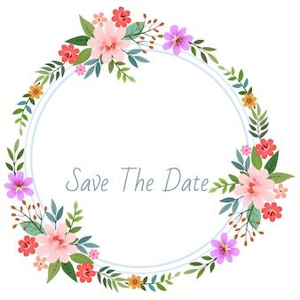 サークルの美しい花の花輪のカード