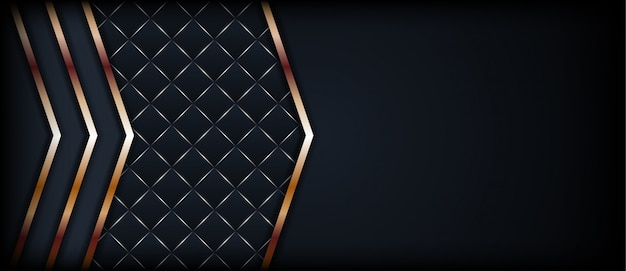 黄金の幾何学的な線と抽象的な暗い背景
