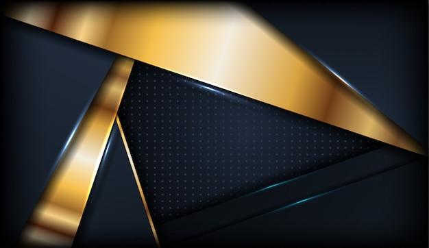 金色の図形の背景を持つ豪華な暗い重複レイヤー