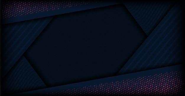 ハーフトーン効果を持つ暗い青色のカット図形背景のモダンな抽象