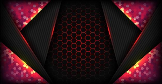 未来的なデザインとモダンな抽象的なハイテク赤背景