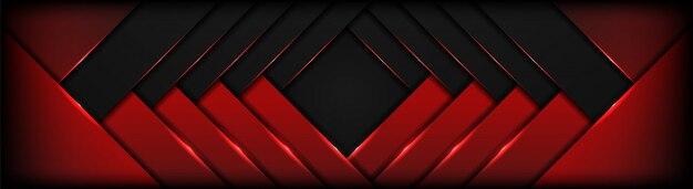 フレームレイアウトの暗いハイテクとオーバーラップ形状の抽象的な赤