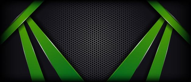 抽象的な豪華なダークグレーグリーン重複レイヤーバナーの背景