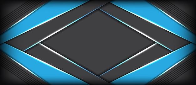 青い重複未来的なバナーの背景を持つ抽象的な灰色メタリック