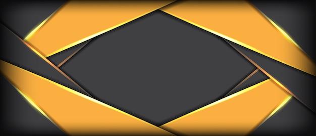 黄色の重複未来的なバナーの背景を持つ抽象的な灰色メタリック