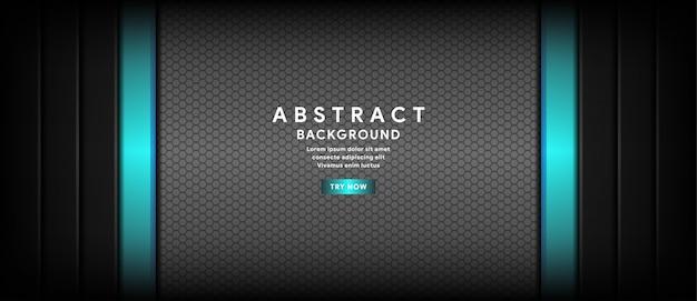 黒い六角形のバナーの背景と抽象的な水色