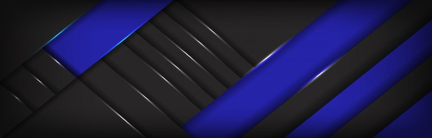 抽象的な青いラベルが暗い灰色のメタリックな背景に重なる