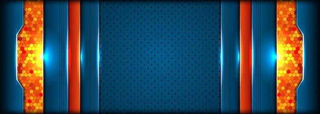 抽象的なスタイルと近代的な技術の青とオレンジ色の背景