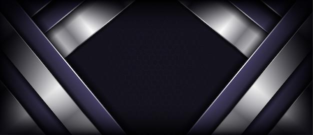 紫色の重複レイヤーを持つ豪華な暗い抽象的な背景
