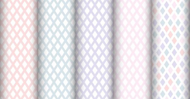 エレガントなダイヤモンド形状のシームレスなパターンセットの色