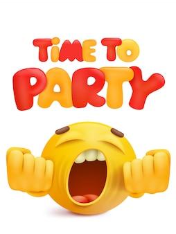 漫画笑顔顔文字でパーティーの招待状カードへの時間。