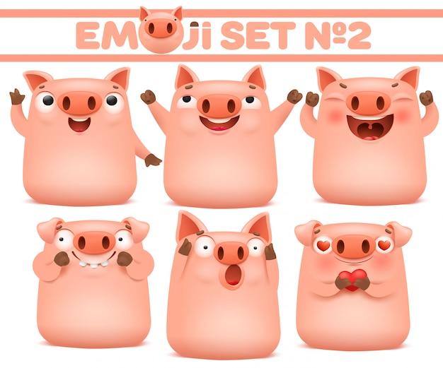様々な感情でかわいい豚漫画絵文字文字のセット。ベクトルイラスト