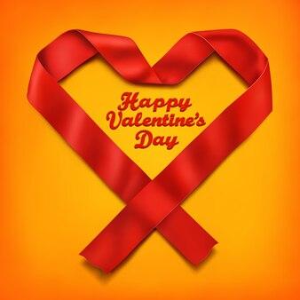 赤いサテンリボンハート型フレーム。バレンタインの日カードテンプレート