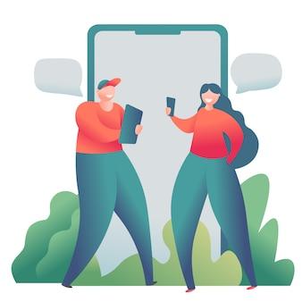オンラインデートソーシャルネットワーク、仮想関係の概念。男性と女性がオンラインでチャット。