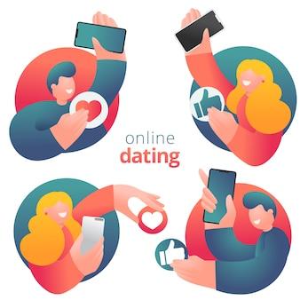 オンラインデートを持つフラットなデザインの男性と女性の漫画のキャラクターのアイコンのセット