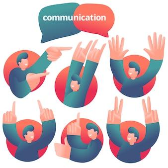 Набор иконок с парнем персонажа, имеющего эмоциональное общение. различные эмоции