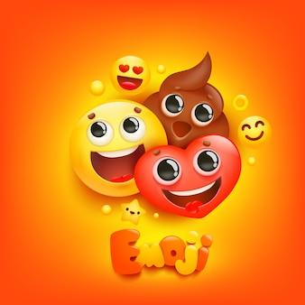 Эмодзи мультфильм группа улыбка персонаж на желтом фоне. выражение лица.