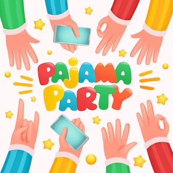 Пижамная вечеринка руки для празднования дизайна.