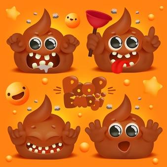 Милый каваи корма забавный мультипликационный персонаж. коллекция смайликов эмодзи.