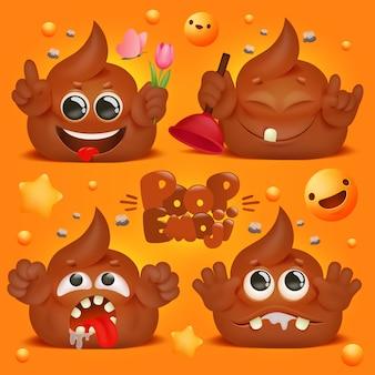 Милый каваи корма забавный мультипликационный персонаж. коллекция смайликов.