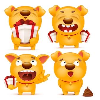 黄色の漫画絵文字犬キャラクターのセット