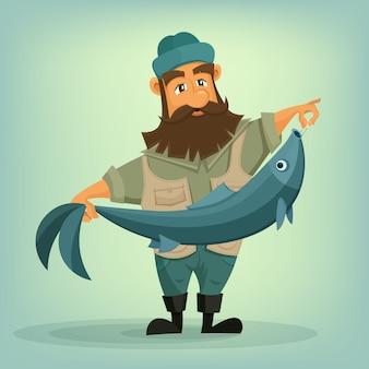 彼の手で大きな魚とひげを生やした漁師