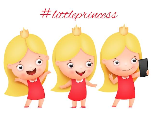 Маленькая девочка в костюме принцессы, принимая селфи фото на смартфон коллекции