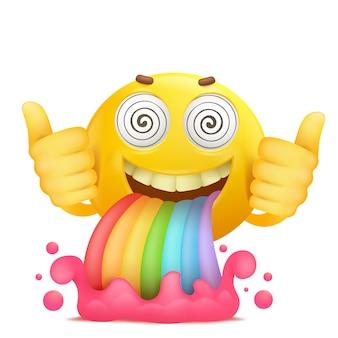 虹の嘔吐と漫画黄色いスマイリー顔絵文字