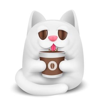Белый кот мультипликационный персонаж, пить кофе.
